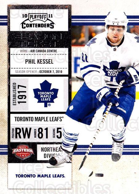 2010-11 Panini Contenders #19 Phil Kessel<br/>3 In Stock - $1.00 each - <a href=https://centericecollectibles.foxycart.com/cart?name=2010-11%20Panini%20Contenders%20%2319%20Phil%20Kessel...&quantity_max=3&price=$1.00&code=283303 class=foxycart> Buy it now! </a>