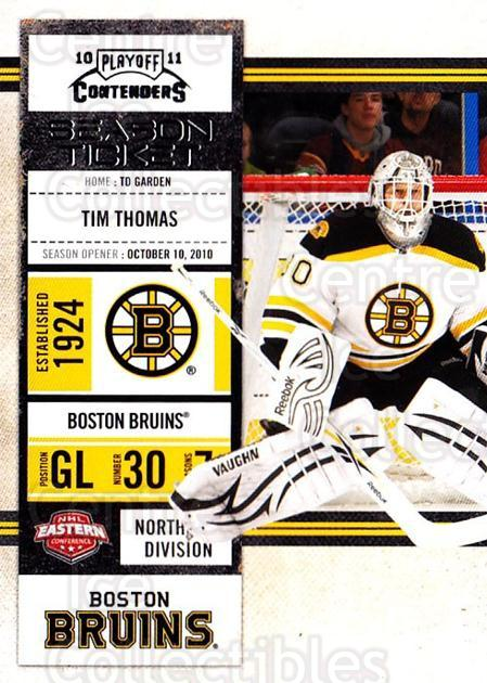 2010-11 Panini Contenders #22 Tim Thomas<br/>3 In Stock - $1.00 each - <a href=https://centericecollectibles.foxycart.com/cart?name=2010-11%20Panini%20Contenders%20%2322%20Tim%20Thomas...&quantity_max=3&price=$1.00&code=283306 class=foxycart> Buy it now! </a>