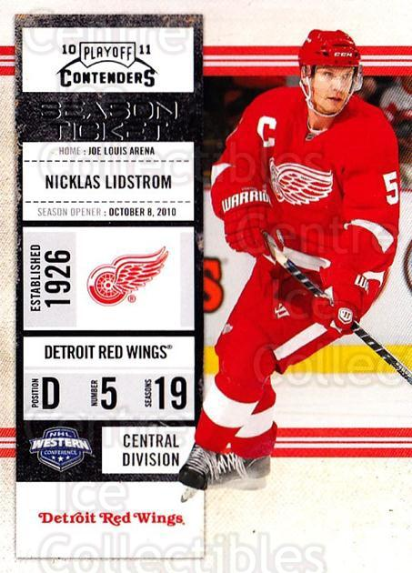 2010-11 Panini Contenders #27 Nicklas Lidstrom<br/>2 In Stock - $1.00 each - <a href=https://centericecollectibles.foxycart.com/cart?name=2010-11%20Panini%20Contenders%20%2327%20Nicklas%20Lidstro...&quantity_max=2&price=$1.00&code=283311 class=foxycart> Buy it now! </a>