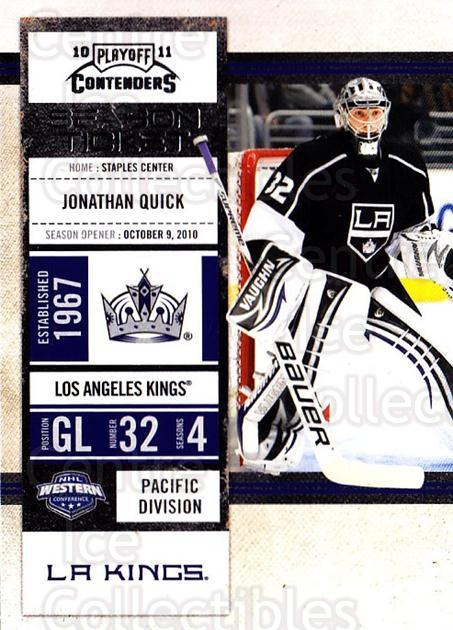2010-11 Panini Contenders #29 Jonathan Quick<br/>3 In Stock - $2.00 each - <a href=https://centericecollectibles.foxycart.com/cart?name=2010-11%20Panini%20Contenders%20%2329%20Jonathan%20Quick...&quantity_max=3&price=$2.00&code=283313 class=foxycart> Buy it now! </a>