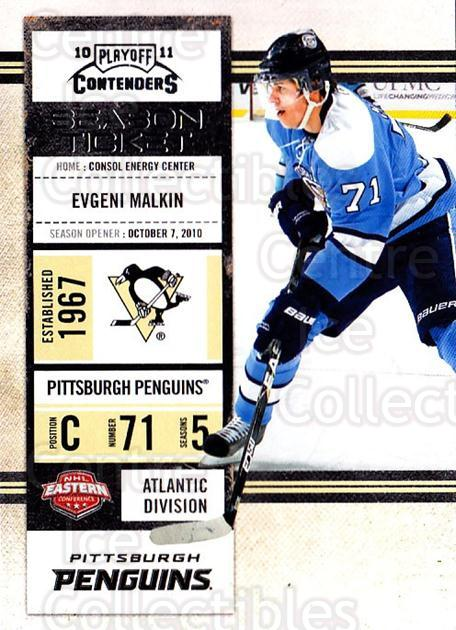 2010-11 Panini Contenders #35 Evgeni Malkin<br/>3 In Stock - $2.00 each - <a href=https://centericecollectibles.foxycart.com/cart?name=2010-11%20Panini%20Contenders%20%2335%20Evgeni%20Malkin...&quantity_max=3&price=$2.00&code=283319 class=foxycart> Buy it now! </a>