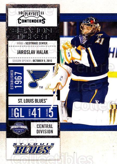 2010-11 Panini Contenders #37 Jaroslav Halak<br/>1 In Stock - $1.00 each - <a href=https://centericecollectibles.foxycart.com/cart?name=2010-11%20Panini%20Contenders%20%2337%20Jaroslav%20Halak...&quantity_max=1&price=$1.00&code=283321 class=foxycart> Buy it now! </a>