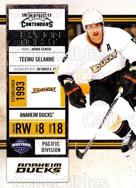 2010-11 Panini Contenders #41 Teemu Selanne<br/>2 In Stock - $2.00 each - <a href=https://centericecollectibles.foxycart.com/cart?name=2010-11%20Panini%20Contenders%20%2341%20Teemu%20Selanne...&quantity_max=2&price=$2.00&code=283325 class=foxycart> Buy it now! </a>