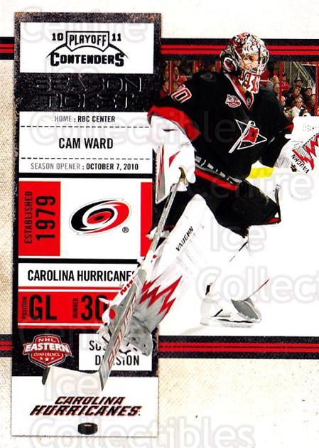2010-11 Panini Contenders #44 Cam Ward<br/>3 In Stock - $1.00 each - <a href=https://centericecollectibles.foxycart.com/cart?name=2010-11%20Panini%20Contenders%20%2344%20Cam%20Ward...&quantity_max=3&price=$1.00&code=283328 class=foxycart> Buy it now! </a>