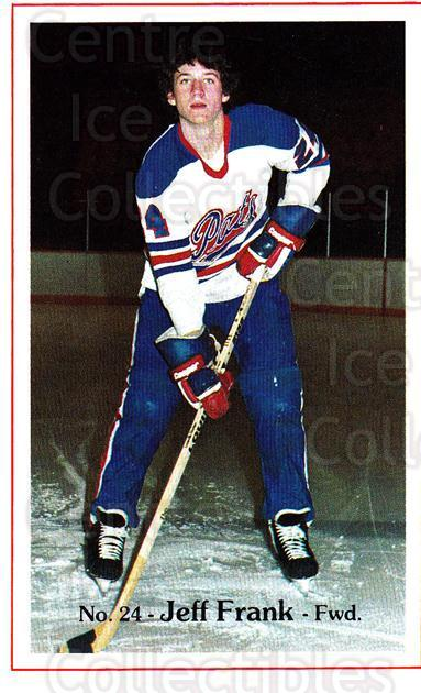 1982-83 Regina Pats #17 Jeff Frank<br/>8 In Stock - $3.00 each - <a href=https://centericecollectibles.foxycart.com/cart?name=1982-83%20Regina%20Pats%20%2317%20Jeff%20Frank...&quantity_max=8&price=$3.00&code=28332 class=foxycart> Buy it now! </a>