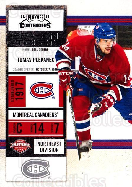 2010-11 Panini Contenders #50 Tomas Plekanec<br/>3 In Stock - $1.00 each - <a href=https://centericecollectibles.foxycart.com/cart?name=2010-11%20Panini%20Contenders%20%2350%20Tomas%20Plekanec...&quantity_max=3&price=$1.00&code=283334 class=foxycart> Buy it now! </a>