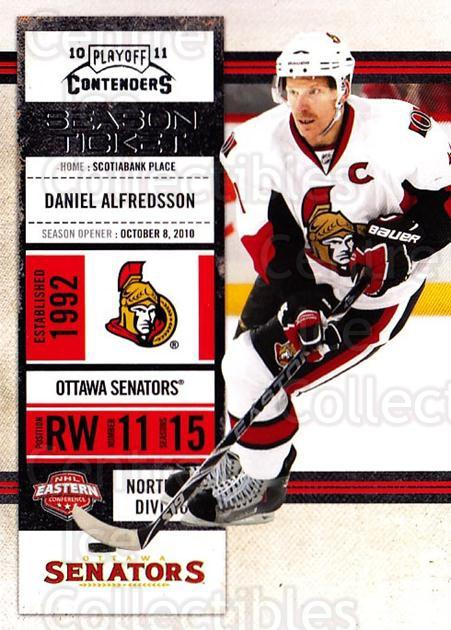 2010-11 Panini Contenders #53 Daniel Alfredsson<br/>3 In Stock - $1.00 each - <a href=https://centericecollectibles.foxycart.com/cart?name=2010-11%20Panini%20Contenders%20%2353%20Daniel%20Alfredss...&quantity_max=3&price=$1.00&code=283337 class=foxycart> Buy it now! </a>