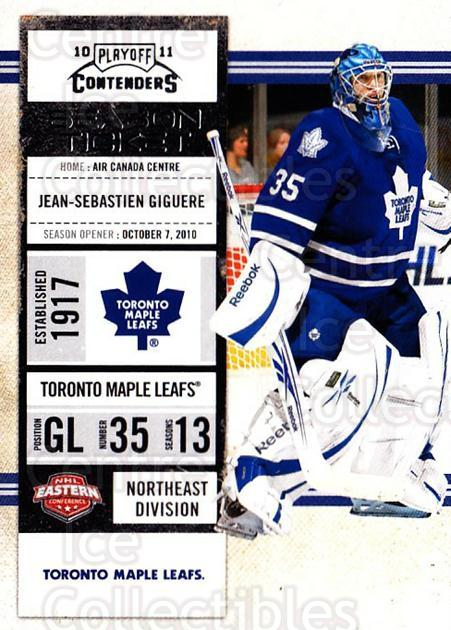 2010-11 Panini Contenders #58 Jean-Sebastien Giguere<br/>3 In Stock - $1.00 each - <a href=https://centericecollectibles.foxycart.com/cart?name=2010-11%20Panini%20Contenders%20%2358%20Jean-Sebastien%20...&quantity_max=3&price=$1.00&code=283342 class=foxycart> Buy it now! </a>