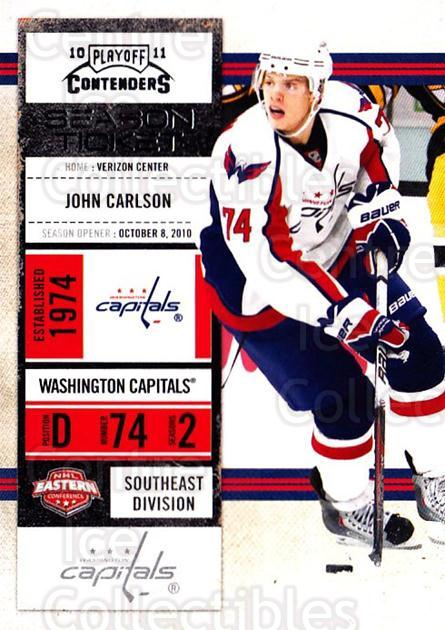 2010-11 Panini Contenders #60 John Carlson<br/>3 In Stock - $1.00 each - <a href=https://centericecollectibles.foxycart.com/cart?name=2010-11%20Panini%20Contenders%20%2360%20John%20Carlson...&quantity_max=3&price=$1.00&code=283344 class=foxycart> Buy it now! </a>