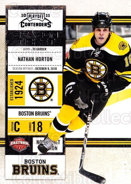 2010-11 Panini Contenders #62 Nathan Horton<br/>2 In Stock - $1.00 each - <a href=https://centericecollectibles.foxycart.com/cart?name=2010-11%20Panini%20Contenders%20%2362%20Nathan%20Horton...&quantity_max=2&price=$1.00&code=283346 class=foxycart> Buy it now! </a>