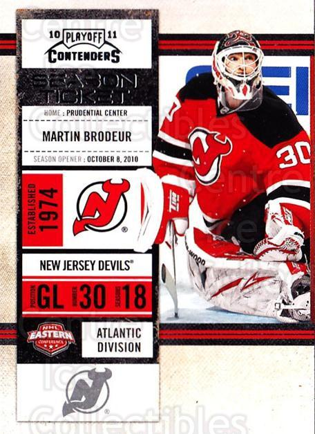 2010-11 Panini Contenders #71 Martin Brodeur<br/>1 In Stock - $2.00 each - <a href=https://centericecollectibles.foxycart.com/cart?name=2010-11%20Panini%20Contenders%20%2371%20Martin%20Brodeur...&quantity_max=1&price=$2.00&code=283355 class=foxycart> Buy it now! </a>