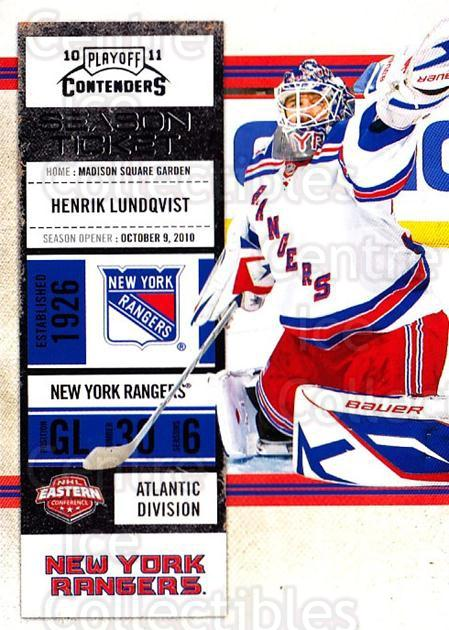 2010-11 Panini Contenders #72 Henrik Lundqvist<br/>3 In Stock - $2.00 each - <a href=https://centericecollectibles.foxycart.com/cart?name=2010-11%20Panini%20Contenders%20%2372%20Henrik%20Lundqvis...&quantity_max=3&price=$2.00&code=283356 class=foxycart> Buy it now! </a>