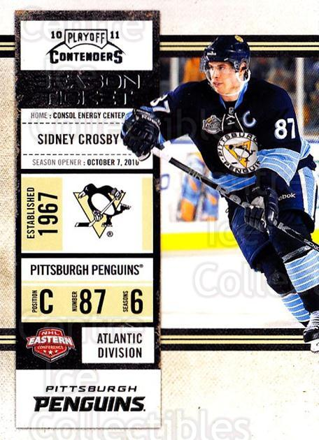 2010-11 Panini Contenders #75 Sidney Crosby<br/>3 In Stock - $3.00 each - <a href=https://centericecollectibles.foxycart.com/cart?name=2010-11%20Panini%20Contenders%20%2375%20Sidney%20Crosby...&quantity_max=3&price=$3.00&code=283359 class=foxycart> Buy it now! </a>