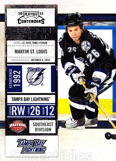2010-11 Panini Contenders #77 Martin St. Louis<br/>3 In Stock - $1.00 each - <a href=https://centericecollectibles.foxycart.com/cart?name=2010-11%20Panini%20Contenders%20%2377%20Martin%20St.%20Loui...&quantity_max=3&price=$1.00&code=283361 class=foxycart> Buy it now! </a>