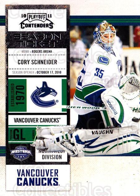 2010-11 Panini Contenders #79 Cory Schneider<br/>3 In Stock - $1.00 each - <a href=https://centericecollectibles.foxycart.com/cart?name=2010-11%20Panini%20Contenders%20%2379%20Cory%20Schneider...&quantity_max=3&price=$1.00&code=283363 class=foxycart> Buy it now! </a>