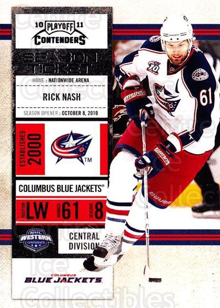 2010-11 Panini Contenders #85 Rick Nash<br/>3 In Stock - $1.00 each - <a href=https://centericecollectibles.foxycart.com/cart?name=2010-11%20Panini%20Contenders%20%2385%20Rick%20Nash...&quantity_max=3&price=$1.00&code=283369 class=foxycart> Buy it now! </a>