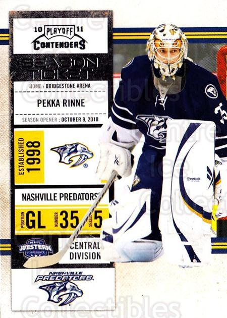 2010-11 Panini Contenders #90 Pekka Rinne<br/>3 In Stock - $1.00 each - <a href=https://centericecollectibles.foxycart.com/cart?name=2010-11%20Panini%20Contenders%20%2390%20Pekka%20Rinne...&quantity_max=3&price=$1.00&code=283374 class=foxycart> Buy it now! </a>