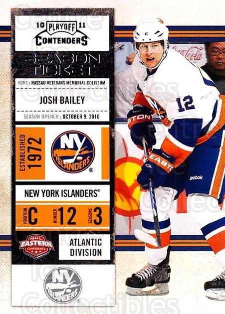 2010-11 Panini Contenders #91 Josh Bailey<br/>3 In Stock - $1.00 each - <a href=https://centericecollectibles.foxycart.com/cart?name=2010-11%20Panini%20Contenders%20%2391%20Josh%20Bailey...&quantity_max=3&price=$1.00&code=283375 class=foxycart> Buy it now! </a>