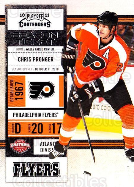 2010-11 Panini Contenders #93 Chris Pronger<br/>3 In Stock - $1.00 each - <a href=https://centericecollectibles.foxycart.com/cart?name=2010-11%20Panini%20Contenders%20%2393%20Chris%20Pronger...&quantity_max=3&price=$1.00&code=283377 class=foxycart> Buy it now! </a>