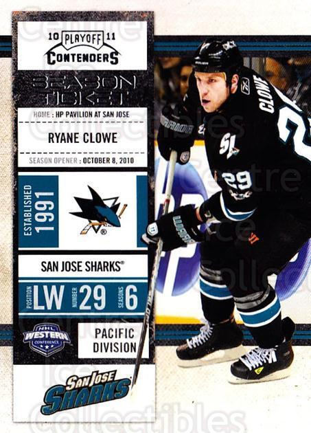 2010-11 Panini Contenders #95 Ryane Clowe<br/>2 In Stock - $1.00 each - <a href=https://centericecollectibles.foxycart.com/cart?name=2010-11%20Panini%20Contenders%20%2395%20Ryane%20Clowe...&quantity_max=2&price=$1.00&code=283379 class=foxycart> Buy it now! </a>