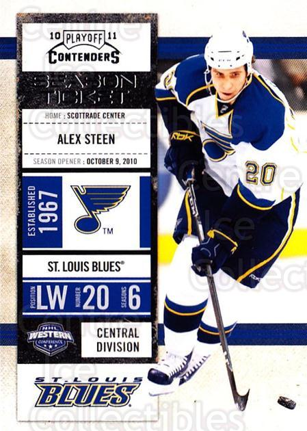 2010-11 Panini Contenders #96 Alex Steen<br/>3 In Stock - $1.00 each - <a href=https://centericecollectibles.foxycart.com/cart?name=2010-11%20Panini%20Contenders%20%2396%20Alex%20Steen...&quantity_max=3&price=$1.00&code=283380 class=foxycart> Buy it now! </a>