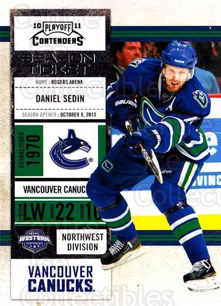 2010-11 Panini Contenders #99 Daniel Sedin<br/>3 In Stock - $1.00 each - <a href=https://centericecollectibles.foxycart.com/cart?name=2010-11%20Panini%20Contenders%20%2399%20Daniel%20Sedin...&quantity_max=3&price=$1.00&code=283383 class=foxycart> Buy it now! </a>