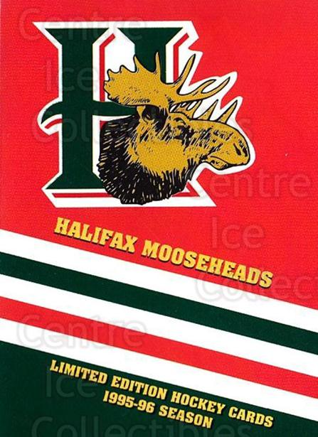 1995-96 Halifax Mooseheads #nno Halifax Mooseheads, Header Card<br/>3 In Stock - $3.00 each - <a href=https://centericecollectibles.foxycart.com/cart?name=1995-96%20Halifax%20Mooseheads%20%23nno%20Halifax%20Moosehe...&price=$3.00&code=283690 class=foxycart> Buy it now! </a>
