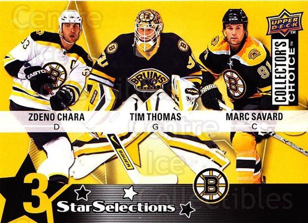 2009-10 Collectors Choice #203 Tim Thomas, Marc Savard, Zdeno Chara<br/>3 In Stock - $2.00 each - <a href=https://centericecollectibles.foxycart.com/cart?name=2009-10%20Collectors%20Choice%20%23203%20Tim%20Thomas,%20Mar...&quantity_max=3&price=$2.00&code=287185 class=foxycart> Buy it now! </a>