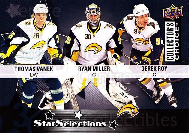 2009-10 Collectors Choice #204 Ryan Miller, Derek Roy, Thomas Vanek<br/>1 In Stock - $2.00 each - <a href=https://centericecollectibles.foxycart.com/cart?name=2009-10%20Collectors%20Choice%20%23204%20Ryan%20Miller,%20De...&quantity_max=1&price=$2.00&code=287186 class=foxycart> Buy it now! </a>