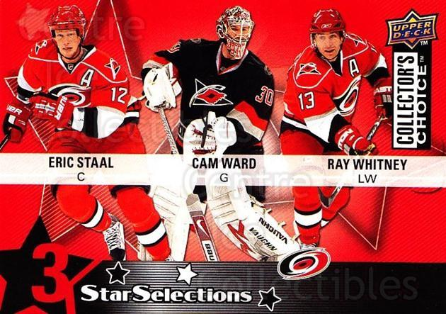 2009-10 Collectors Choice #206 Eric Staal, Cam Ward, Ray Whitney<br/>3 In Stock - $2.00 each - <a href=https://centericecollectibles.foxycart.com/cart?name=2009-10%20Collectors%20Choice%20%23206%20Eric%20Staal,%20Cam...&quantity_max=3&price=$2.00&code=287188 class=foxycart> Buy it now! </a>