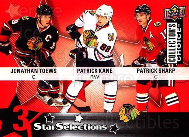 2009-10 Collectors Choice #207 Patrick Sharp, Patrick Kane, Jonathan Toews<br/>1 In Stock - $2.00 each - <a href=https://centericecollectibles.foxycart.com/cart?name=2009-10%20Collectors%20Choice%20%23207%20Patrick%20Sharp,%20...&quantity_max=1&price=$2.00&code=287189 class=foxycart> Buy it now! </a>