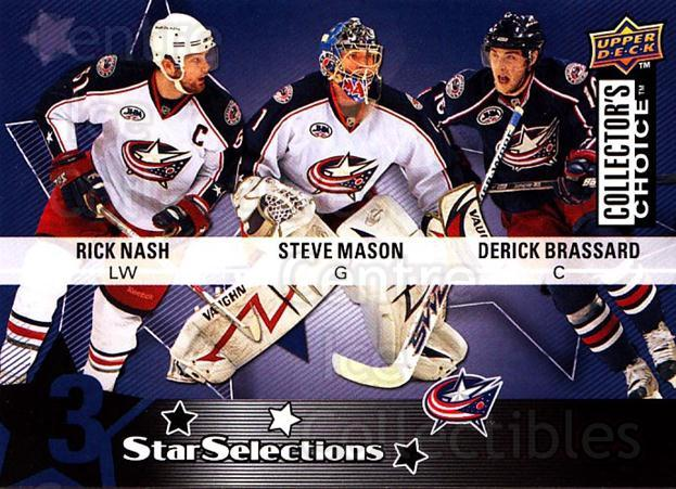 2009-10 Collectors Choice #209 Derick Brassard, Steve Mason, Rick Nash<br/>3 In Stock - $2.00 each - <a href=https://centericecollectibles.foxycart.com/cart?name=2009-10%20Collectors%20Choice%20%23209%20Derick%20Brassard...&quantity_max=3&price=$2.00&code=287191 class=foxycart> Buy it now! </a>