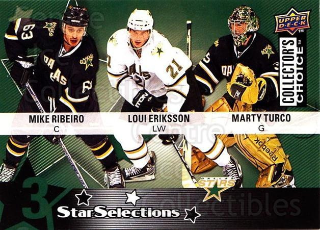 2009-10 Collectors Choice #210 Marty Turco, Loui Eriksson, Mike Ribeiro<br/>3 In Stock - $2.00 each - <a href=https://centericecollectibles.foxycart.com/cart?name=2009-10%20Collectors%20Choice%20%23210%20Marty%20Turco,%20Lo...&quantity_max=3&price=$2.00&code=287192 class=foxycart> Buy it now! </a>
