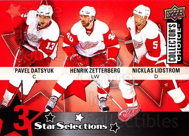 2009-10 Collectors Choice #211 Henrik Zetterberg, Nicklas Lidstrom, Pavel Datsyuk<br/>1 In Stock - $2.00 each - <a href=https://centericecollectibles.foxycart.com/cart?name=2009-10%20Collectors%20Choice%20%23211%20Henrik%20Zetterbe...&quantity_max=1&price=$2.00&code=287193 class=foxycart> Buy it now! </a>
