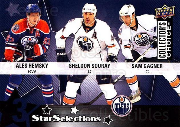 2009-10 Collectors Choice #212 Sam Gagner, Sheldon Souray, Ales Hemsky<br/>3 In Stock - $2.00 each - <a href=https://centericecollectibles.foxycart.com/cart?name=2009-10%20Collectors%20Choice%20%23212%20Sam%20Gagner,%20She...&quantity_max=3&price=$2.00&code=287194 class=foxycart> Buy it now! </a>