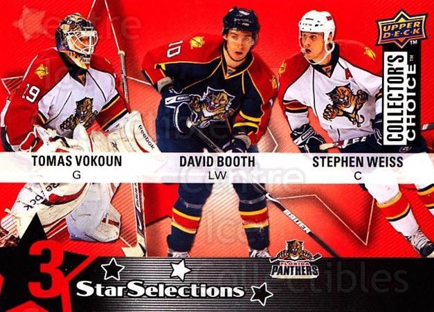 2009-10 Collectors Choice #213 David Booth, Tomas Vokoun, Stephen Weiss<br/>3 In Stock - $2.00 each - <a href=https://centericecollectibles.foxycart.com/cart?name=2009-10%20Collectors%20Choice%20%23213%20David%20Booth,%20To...&quantity_max=3&price=$2.00&code=287195 class=foxycart> Buy it now! </a>
