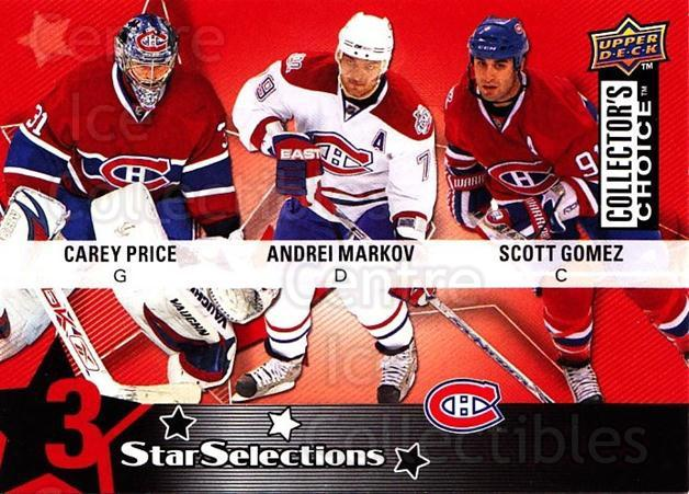 2009-10 Collectors Choice #216 Scott Gomez, Andrei Markov, Carey Price<br/>1 In Stock - $3.00 each - <a href=https://centericecollectibles.foxycart.com/cart?name=2009-10%20Collectors%20Choice%20%23216%20Scott%20Gomez,%20An...&quantity_max=1&price=$3.00&code=287198 class=foxycart> Buy it now! </a>
