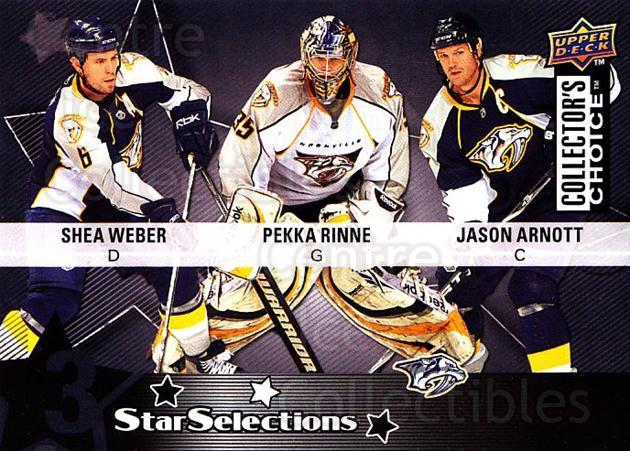 2009-10 Collectors Choice #217 Jason Arnott, Shea Weber, Pekka Rinne<br/>3 In Stock - $2.00 each - <a href=https://centericecollectibles.foxycart.com/cart?name=2009-10%20Collectors%20Choice%20%23217%20Jason%20Arnott,%20S...&quantity_max=3&price=$2.00&code=287199 class=foxycart> Buy it now! </a>