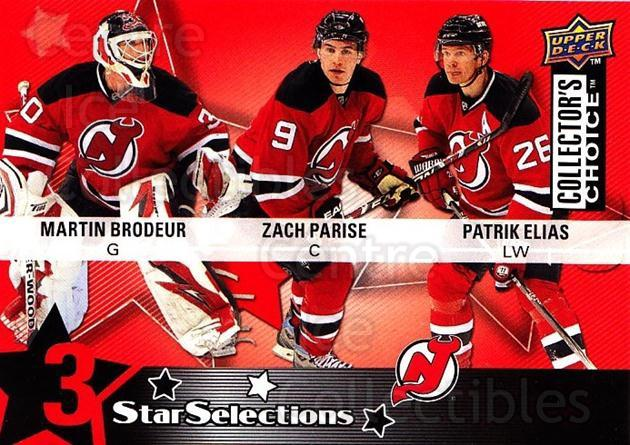 2009-10 Collectors Choice #218 Martin Brodeur, Zach Parise, Patrik Elias<br/>1 In Stock - $2.00 each - <a href=https://centericecollectibles.foxycart.com/cart?name=2009-10%20Collectors%20Choice%20%23218%20Martin%20Brodeur,...&quantity_max=1&price=$2.00&code=287200 class=foxycart> Buy it now! </a>