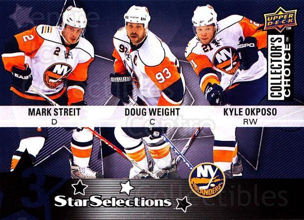 2009-10 Collectors Choice #219 Mark Streit, Kyle Okposo, Doug Weight<br/>3 In Stock - $2.00 each - <a href=https://centericecollectibles.foxycart.com/cart?name=2009-10%20Collectors%20Choice%20%23219%20Mark%20Streit,%20Ky...&quantity_max=3&price=$2.00&code=287201 class=foxycart> Buy it now! </a>