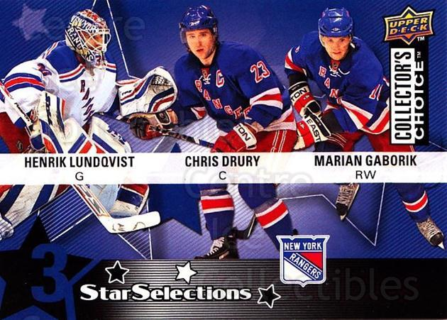 2009-10 Collectors Choice #220 Marian Gaborik, Henrik Lundqvist, Chris Drury<br/>3 In Stock - $2.00 each - <a href=https://centericecollectibles.foxycart.com/cart?name=2009-10%20Collectors%20Choice%20%23220%20Marian%20Gaborik,...&quantity_max=3&price=$2.00&code=287202 class=foxycart> Buy it now! </a>