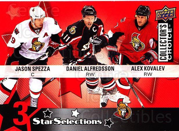 2009-10 Collectors Choice #221 Jason Spezza, Alexei Kovalev, Daniel Alfredsson<br/>2 In Stock - $2.00 each - <a href=https://centericecollectibles.foxycart.com/cart?name=2009-10%20Collectors%20Choice%20%23221%20Jason%20Spezza,%20A...&quantity_max=2&price=$2.00&code=287203 class=foxycart> Buy it now! </a>