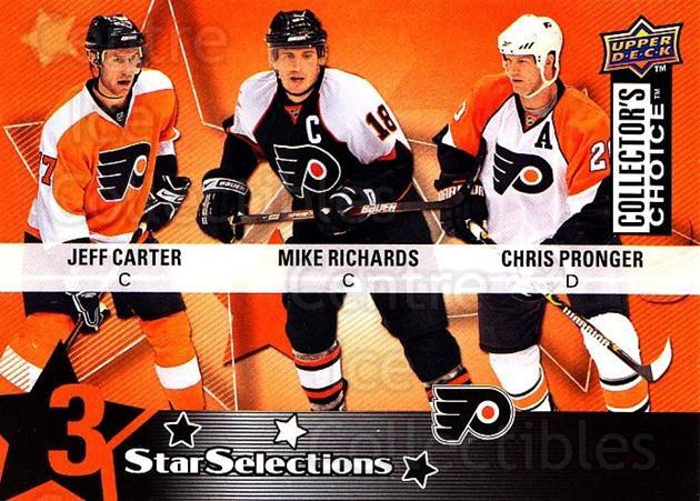 2009-10 Collectors Choice #222 Chris Pronger, Jeff Carter, Mike Richards<br/>2 In Stock - $2.00 each - <a href=https://centericecollectibles.foxycart.com/cart?name=2009-10%20Collectors%20Choice%20%23222%20Chris%20Pronger,%20...&quantity_max=2&price=$2.00&code=287204 class=foxycart> Buy it now! </a>
