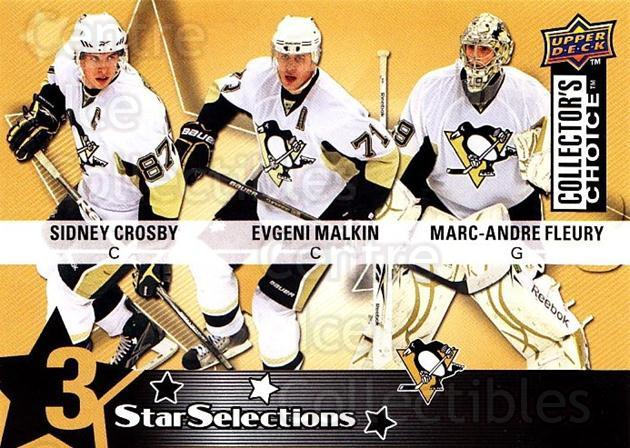 2009-10 Collectors Choice #224 Sidney Crosby, Evgeni Malkin, Marc-Andre Fleury<br/>1 In Stock - $5.00 each - <a href=https://centericecollectibles.foxycart.com/cart?name=2009-10%20Collectors%20Choice%20%23224%20Sidney%20Crosby,%20...&quantity_max=1&price=$5.00&code=287206 class=foxycart> Buy it now! </a>