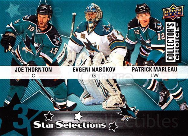 2009-10 Collectors Choice #225 Evgeni Nabokov, Joe Thornton, Patrick Marleau<br/>3 In Stock - $2.00 each - <a href=https://centericecollectibles.foxycart.com/cart?name=2009-10%20Collectors%20Choice%20%23225%20Evgeni%20Nabokov,...&quantity_max=3&price=$2.00&code=287207 class=foxycart> Buy it now! </a>