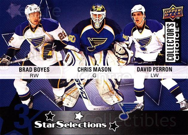 2009-10 Collectors Choice #226 Brad Boyes, Chris Mason, David Perron<br/>3 In Stock - $2.00 each - <a href=https://centericecollectibles.foxycart.com/cart?name=2009-10%20Collectors%20Choice%20%23226%20Brad%20Boyes,%20Chr...&quantity_max=3&price=$2.00&code=287208 class=foxycart> Buy it now! </a>