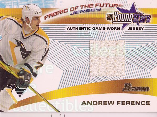2001-02 Bowman YoungStars Fabric of the Future #FFJAF Andrew Ference<br/>2 In Stock - $5.00 each - <a href=https://centericecollectibles.foxycart.com/cart?name=2001-02%20Bowman%20YoungStars%20Fabric%20of%20the%20Future%20%23FFJAF%20Andrew%20Ference...&quantity_max=2&price=$5.00&code=287357 class=foxycart> Buy it now! </a>