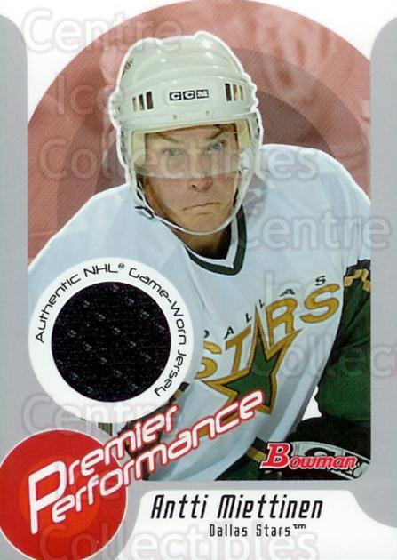 2003-04 Bowman Premier Performance Jersey #PPAM Antti Miettinen<br/>1 In Stock - $5.00 each - <a href=https://centericecollectibles.foxycart.com/cart?name=2003-04%20Bowman%20Premier%20Performance%20Jersey%20%23PPAM%20Antti%20Miettinen...&quantity_max=1&price=$5.00&code=287373 class=foxycart> Buy it now! </a>