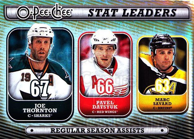 2008-09 O-pee-chee Stat Leaders #3 Joe Thornton, Pavel Datsyuk, Marc Savard<br/>1 In Stock - $3.00 each - <a href=https://centericecollectibles.foxycart.com/cart?name=2008-09%20O-pee-chee%20Stat%20Leaders%20%233%20Joe%20Thornton,%20P...&quantity_max=1&price=$3.00&code=287381 class=foxycart> Buy it now! </a>