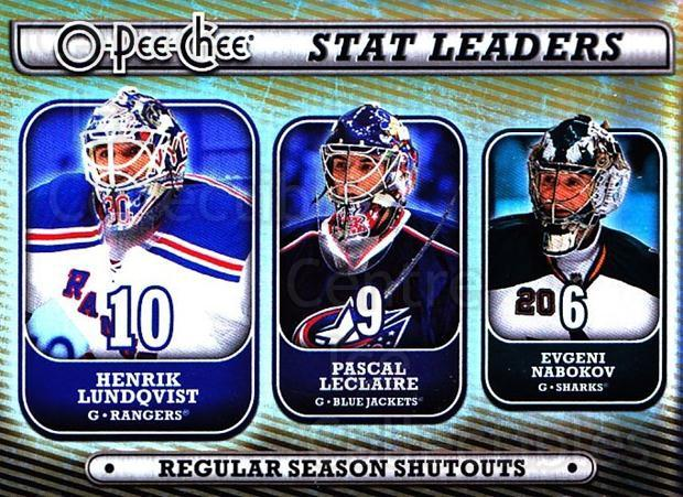 2008-09 O-pee-chee Stat Leaders #9 Henrik Lundqvist, Pascal Leclaire, Evgeni Nabokov<br/>1 In Stock - $3.00 each - <a href=https://centericecollectibles.foxycart.com/cart?name=2008-09%20O-pee-chee%20Stat%20Leaders%20%239%20Henrik%20Lundqvis...&quantity_max=1&price=$3.00&code=287387 class=foxycart> Buy it now! </a>